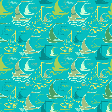 Seamless nautical pattern with decorative sailing boats Vettoriali