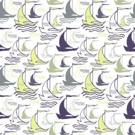 装飾的な航行ボートとのシームレスな航海パターン