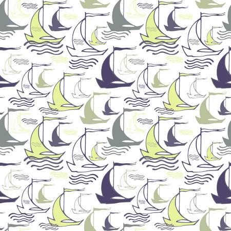 Seamless nautical pattern with decorative sailing boats Vectores