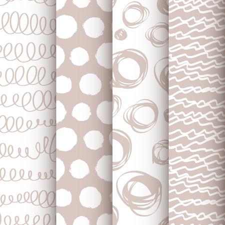 4 黒と白のセット落書きシームレスなパターン