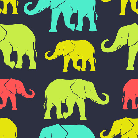 editorial design: Seamless pattern with hand drawn silhouette elephants