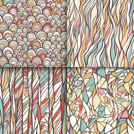 幾何学的な落書きシームレス パターン セット