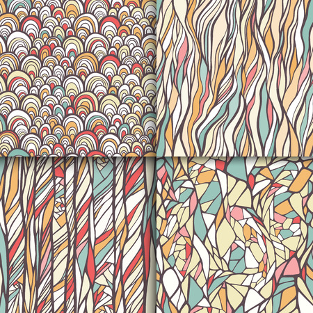 Geometric doodle seamless patterns set Vectores