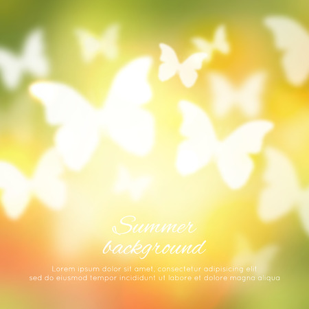 spring green: Abstract shining spring summer background with butterflies