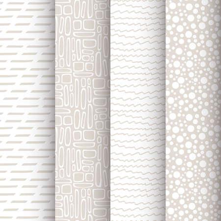 4 単純な落書きのシームレス パターンのセット  イラスト・ベクター素材