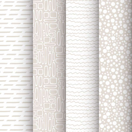 Set of 4 simple doodle seamless patterns 向量圖像