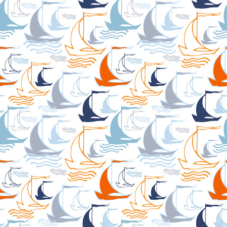 sailing ships: Seamless pattern with decorative sailing ships on waves