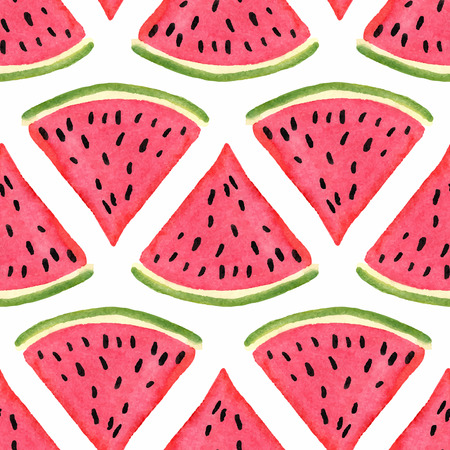de zomer: Naadloos patroon met waterverf watermeloen Stock Illustratie