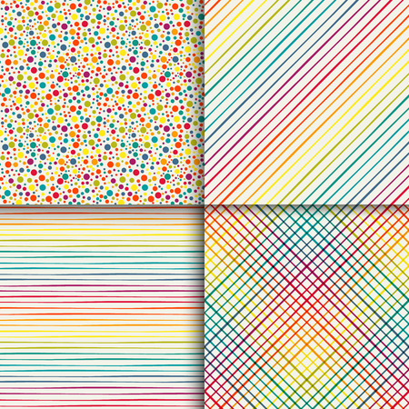 rainbow colors: Geometric seamless patterns set in vintage rainbow colors
