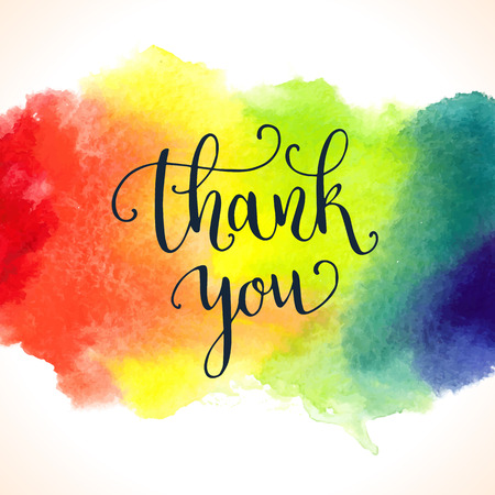 Thank you watercolor card template. Bright hand painted background