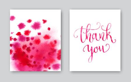 merci: Merci Aquarelle modèle de carte. Main Bright fond peint