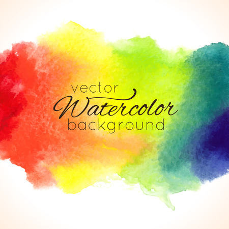 Watercolor hand painted rainbow background Vectores