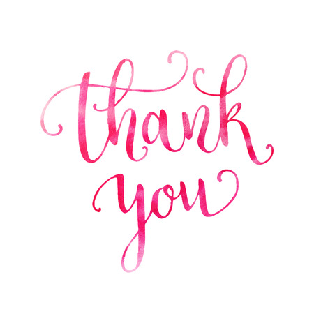 agradecimiento: Acuarela gracias letras de la mano Vectores