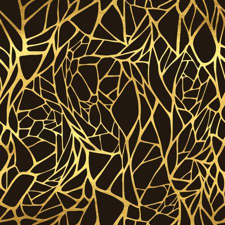 抽象の黄金の飾りとシームレスなパターン