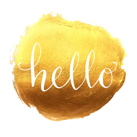 golden texture: Hello hand lettering on splash golden background Illustration