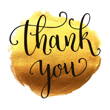 greetings card: Thank you hand lettering on splash golden background