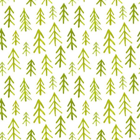feuille arbre: Seamless avec des sapins aquarelle