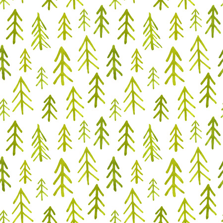 spring tree: Seamless pattern with watercolor fir trees Illustration