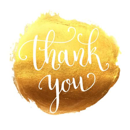 letras de oro: Gracias letras de la mano Vectores