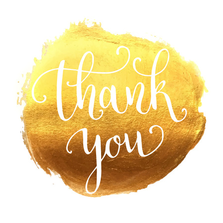 gold banner: Thank you hand lettering