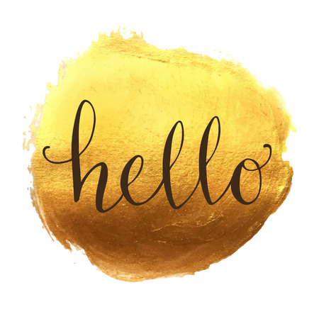 Hello hand lettering Vectores