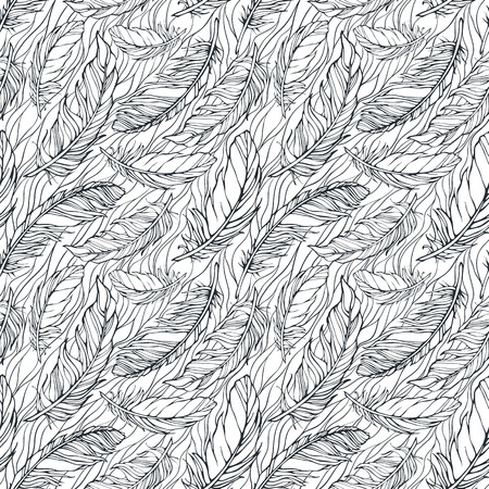 lightweight ornaments: Seamless pattern with feathers Illustration