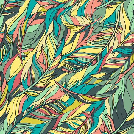 lightweight: Seamless pattern with feathers Illustration