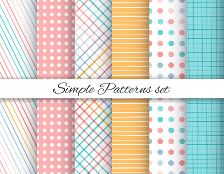 Geometric seamless patterns set Illustration