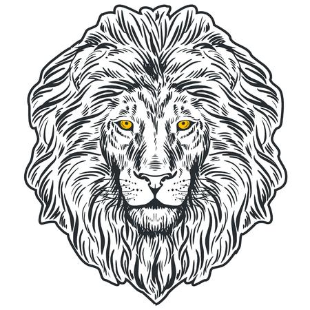 手描きの獅子頭が分離されました。バナー、ポスター、カード、t シャツのデザイン テンプレート。ベクトル図  イラスト・ベクター素材