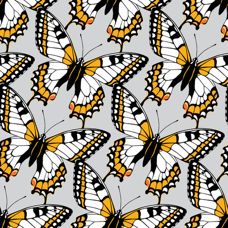 classic contrast: Seamless pattern with butterflies