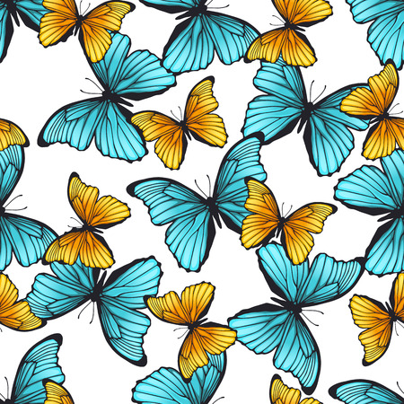 classic contrast: Seamless pattern with colorful butterflies