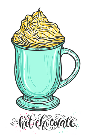 Decorative hand drawn doodle vector illustration. Hot chocolate or coffee in a mug with whipped caramel