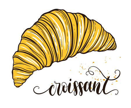continental food: Decorative hand drawn doodle vector illustration. Fresh croissant isolated on white background. Sweet desert menu or bakery shop collection Illustration