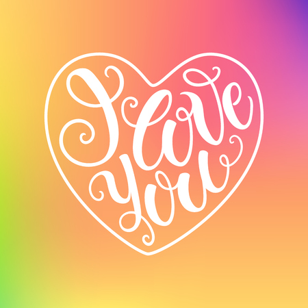 defocus: I love you doodle decorative hand lettering on blured background. Can be used for website background, poster, printing, banner, greeting card. Vector illustration