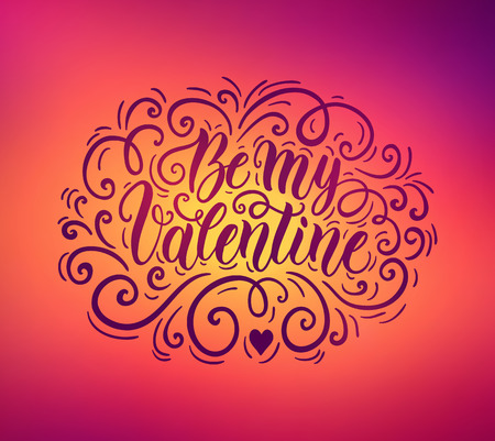 defocus: Happy Valentines day hand lettering banner on blured background. Can be used for website background, poster, printing, banner, greeting card. Vector illustration