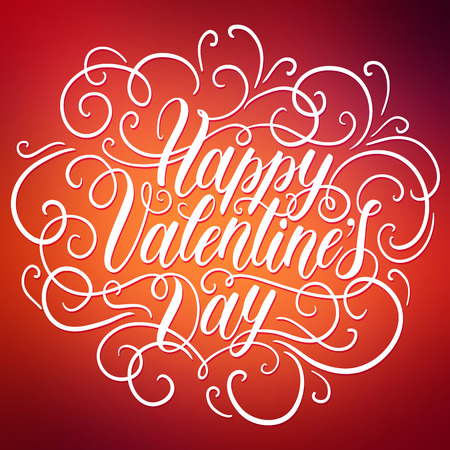 defocus: Happy Valentines day hand lettering on blured background. Can be used for website background, poster, printing, banner, greeting card. Vector illustration