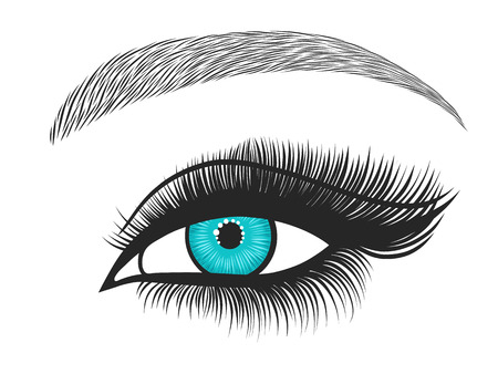 Hand drawn bright eyes with thick, long eyelashes and perfect eyebrows. Stylized decorative makeup. Vector illustration Çizim