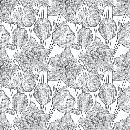 springtime: Hand drawn vector illustration Seamless pattern with decorative doodle tulips hand drawn in lines. Vector illustration