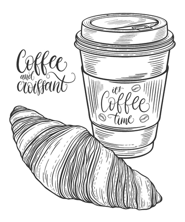 buttery: Hand drawn coffee cup and croissant. Isolated on white background. Decorative doodle vector illustration