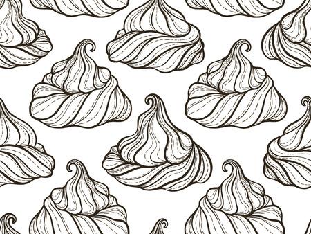 フランスのメレンゲ クッキーのシームレスなパターン落書き装飾的な手描きベクトル図