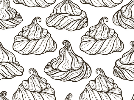 confection: French meringue cookies seamless pattern Doodle decorative hand drawn vector illustration Illustration