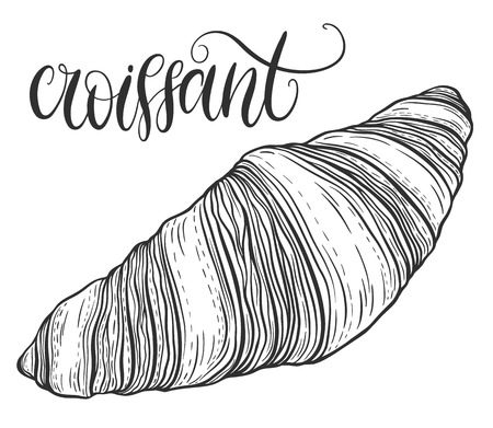Decorative hand drawn doodle vector illustration. Fresh croissant isolated on white background. Sweet desert menu or bakery shop collection Illustration