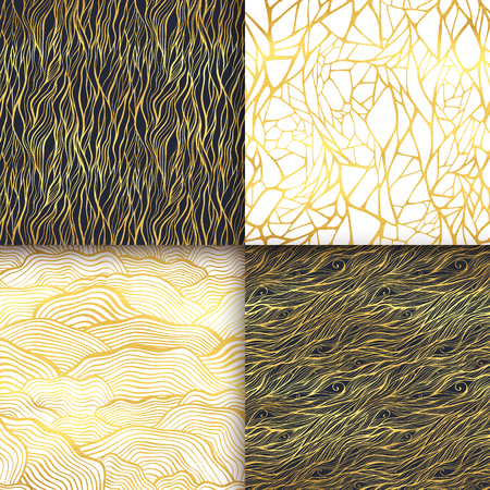 Abstract golden seamless pattern set. Waves, curly lines, spiral, stripes, scale ornament.