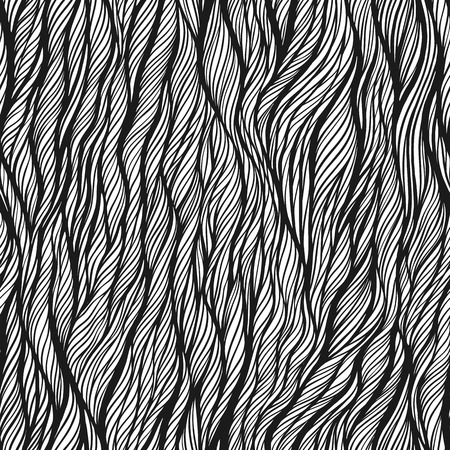 repetition: Abstract monochrome black and white doodle seamless pattern. Hand drawn waves ornament. Vector illustration