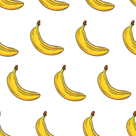 banana: Bananas bright colorful seamless pattern, template for your design. Fresh fruits collection. Decorative hand drawn doodle vector illustration Illustration