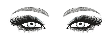 Stylized decorative makeup set. Hand drawn bright eyes with thick, long eyelashes and perfect brows. Vector illustration