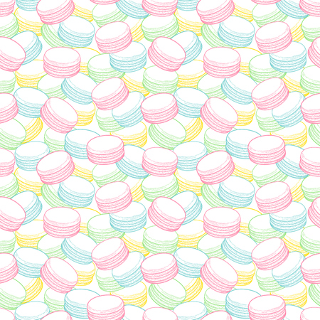 French macarons cookies seamless pattern. Doodle decorative hand drawn vector illustration Illustration