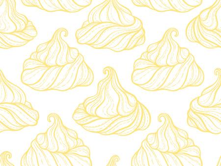 フレンチメレンゲクッキーシームレスパターン.落書き装飾手描きベクトルイラスト
