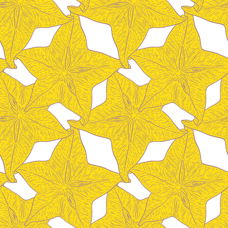 Hand drawn pattern with decorative sliced carambola fruit. Stylized colorful star fruit. Summer spring background, nature collection. Vector illustration