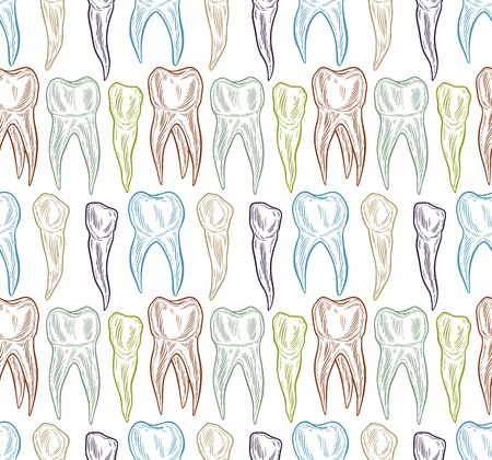 Stylized doodle, hand drawn outline of teeth. A seamless tooth pattern background. Decorative oral dental hygiene vector illustration